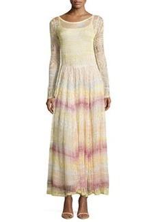 Scoop-Neck Zigzag-Knit Long Dress, Pink Multi   Scoop-Neck Zigzag-Knit Long Dress, Pink Multi