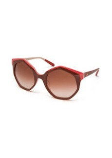Seven-Sided Butterfly Sunglasses, Nude/Red   Seven-Sided Butterfly Sunglasses, Nude/Red