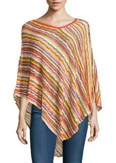 Striped Knit Asymmetric Poncho   Striped Knit Asymmetric Poncho