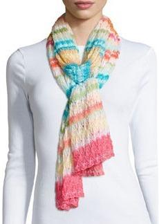 Striped Knit Zigzag Scarf, Multi   Striped Knit Zigzag Scarf, Multi