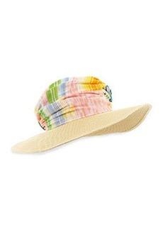 Striped Wide-Brim Hat, Blue/Multi   Striped Wide-Brim Hat, Blue/Multi