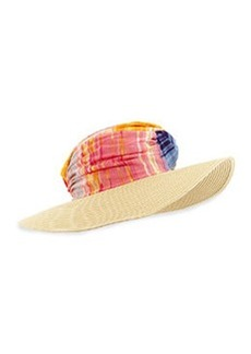 Striped Wide-Brim Hat, Red/Multi   Striped Wide-Brim Hat, Red/Multi