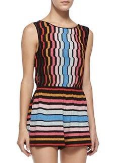 Tuta Shimmery Striped Knit Short Jumpsuit   Tuta Shimmery Striped Knit Short Jumpsuit