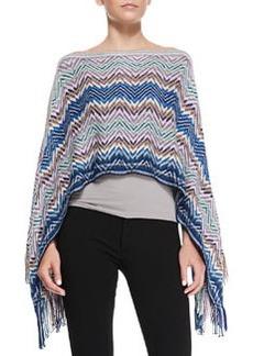 Zigzag Knit Poncho with Fringe, Blue/Multi   Zigzag Knit Poncho with Fringe, Blue/Multi