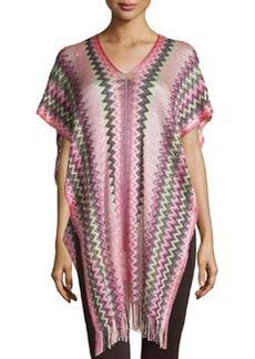 Zigzag Knit Poncho with Fringe, Pink   Zigzag Knit Poncho with Fringe, Pink