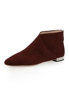 Crystal-Heel Flat Ankle Boot, Amaranto   Crystal-Heel Flat Ankle Boot, Amaranto