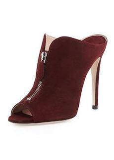 High-Heel Zip-Front Mule, Amaranto   High-Heel Zip-Front Mule, Amaranto