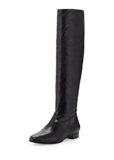Leather Flat Knee Boot, Nero   Leather Flat Knee Boot, Nero