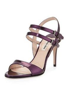 Metallic Double-Strap Sandal, Berry   Metallic Double-Strap Sandal, Berry