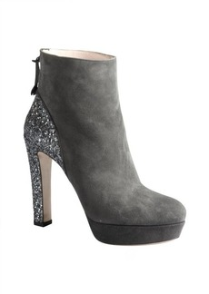 Miu Miu anthracite suede glitter heel platform ankle boots