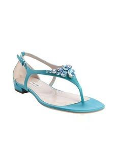 Miu Miu aqua nylon thong strap jewel studded sandals