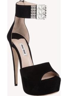 Miu Miu Bejeweled Ankle-Strap Sandals
