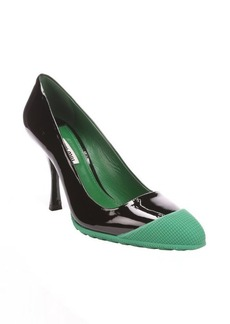 Miu Miu black and green patent leather rubber cap toe pumps