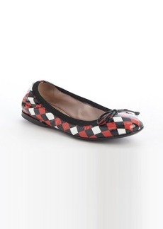 Miu Miu black and red and white check patent leather ballet flats