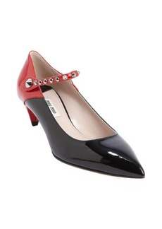 Miu Miu black and red patent leather studded mary jane pumps