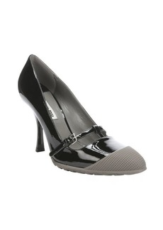 Miu Miu black and stone patent leather rubber cap toe mary-jane pumps