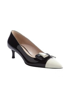 Miu Miu black and white patent leather bow detail kitten heel pumps