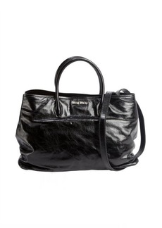 Miu Miu black distressed patent leather convertible tote
