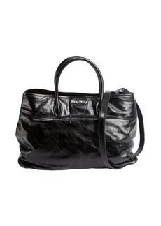 Miu Miu black distressed patent leather convertible tote