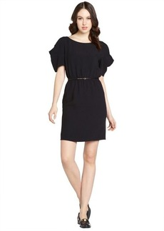 Miu Miu black elastic belted waist short sleeve cutout detail dress