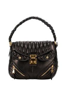 Miu Miu black lambskin matelasse quilted convertible shoulder bag