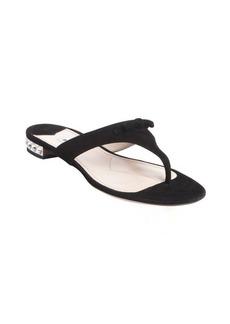 Miu Miu black leather bow detail crystal studded sandals