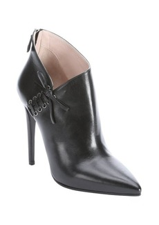 Miu Miu black leather bow detailed ankle booties