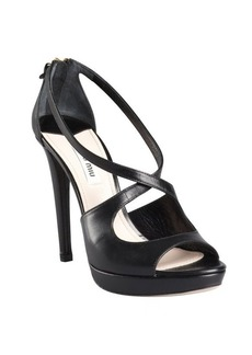 Miu Miu black leather cutout zip back platform pumps