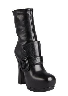 Miu Miu black leather flap buckle strapped platform boots