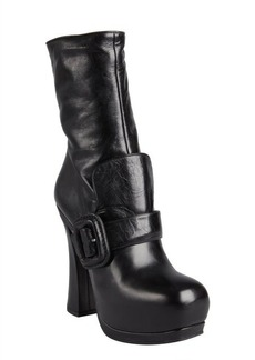 Miu Miu black leather flap buckle strapped platform boots