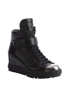 Miu Miu black leather high top metal toe sneakers
