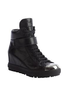 Miu Miu black leather high top metal toe sneakers