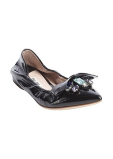 Miu Miu black leather jewel detail ballet flats