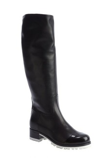 Miu Miu black leather lug sole boots