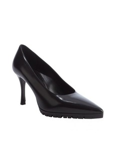 Miu Miu black leather lug sole pumps