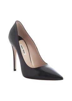 Miu Miu black leather pointed toe pumps