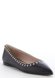 Miu Miu black leather pointed toe silver studding flats