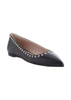 Miu Miu black leather pointed toe studded flats