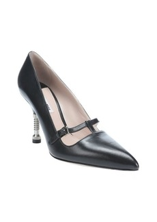 Miu Miu black leather screw-detailed Mary-Jane pumps