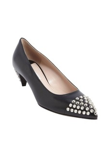 Miu Miu black leather silver stud kitten pumps