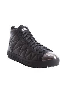Miu Miu black leather steel toe high top sneakers