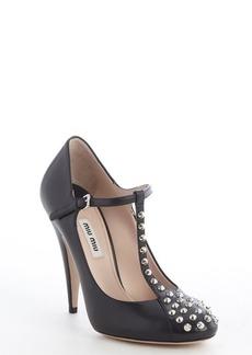 Miu Miu black leather studded detail buckle strap pumps