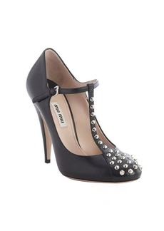 Miu Miu black leather studded detail buckle strap pumps