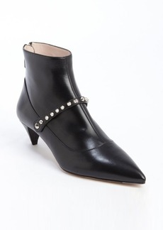 Miu Miu black leather studded detail strap accent ankle booties