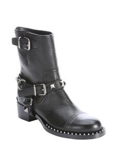 Miu Miu black leather studded mid-calf boots