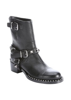 Miu Miu black leather studded mid-calf boots