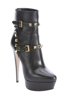 Miu Miu black leather studded platform booties