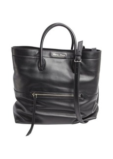 Miu Miu black leather zipper detail convertible shoulder bag