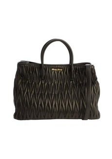 Miu Miu black matelasse leather convertible top handle bag