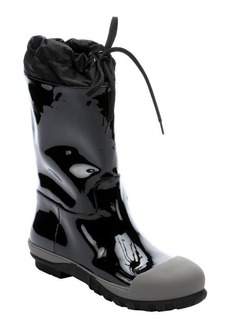 Miu Miu black patent leather and marble rubber mid-calf rain boots